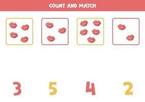 conteggio del gioco per bambini. gioco di matematica con le labbra dei cartoni animati. vettore