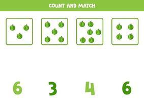 conteggio del gioco per bambini. gioco di matematica con angurie dei cartoni animati. vettore
