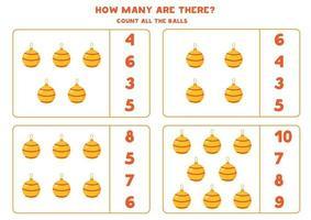 conteggio del gioco per bambini. gioco di matematica con palle di Natale dei cartoni animati. vettore
