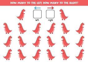 a sinistra oa destra con un simpatico dinosauro rosso. foglio di lavoro logico per bambini in età prescolare. vettore