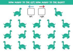 a sinistra oa destra con un simpatico dinosauro. foglio di lavoro logico per bambini in età prescolare. vettore