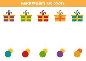 abbinare i regali di Natale con i colori. foglio di lavoro logico. vettore