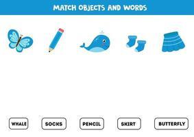 gioco di abbinamento con oggetti blu colorati. gioco logico. vettore