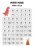 conteggio del gioco per bambini. labirinto di matematica con dinosauro. vettore