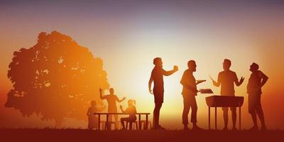 concetto di vacanza con un barbecue con gli amici vettore