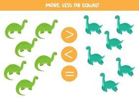 più, meno, uguale a simpatici dinosauri. gioco di matematica. vettore