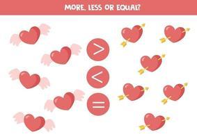 più, meno, uguale a simpatici cuori di San Valentino. gioco di matematica. vettore