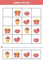 puzzle di sudoku con oggetti di San Valentino simpatico cartone animato. gioco logico per bambini. vettore