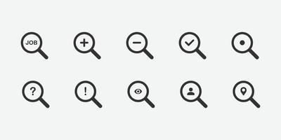 illustrazione vettoriale di set di icone di ricerca
