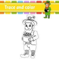 traccia e colora leprechaun vettore