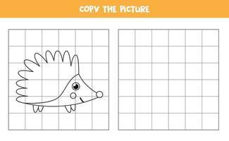 copia l'immagine. riccio di cartone animato. gioco logico per bambini. vettore