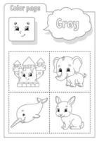 libro da colorare grigio. imparare i colori. flashcard per bambini. personaggi dei cartoni animati. set di immagini per bambini in età prescolare. foglio di lavoro per l'istruzione. illustrazione vettoriale. vettore