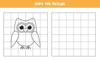 copia l'immagine. gufo simpatico cartone animato. gioco logico per bambini. vettore