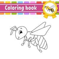 libro da colorare per bambini ape. carattere allegro. illustrazione vettoriale. stile cartone animato carino. sagoma contorno nero. isolato su sfondo bianco. vettore
