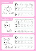 scrivere lettere p, q, r. pagina di tracciamento. foglio di lavoro per bambini. foglio di pratica. impara l'alfabeto. simpatici personaggi. illustrazione vettoriale. stile cartone animato. vettore