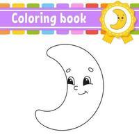 libro da colorare per bambini con falce di luna. carattere allegro. illustrazione vettoriale. stile cartone animato carino. sagoma contorno nero. isolato su sfondo bianco. vettore