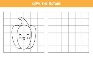 copia l'immagine. simpatico peperone giallo. gioco logico per bambini. vettore