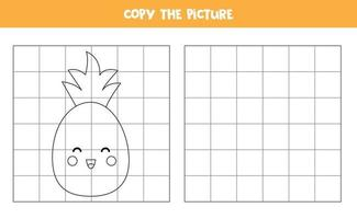 copia l'immagine. simpatico ananas kawaii. gioco logico per bambini. vettore