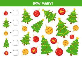 conta tutte le palle di Natale e gli alberi. gioco di matematica. vettore