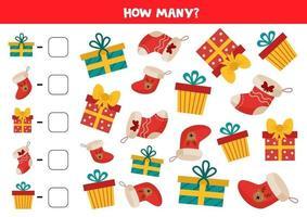 gioco di conteggio con regali di Natale e calzini. vettore