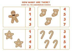 conteggio del gioco per bambini. contare tutti i biscotti di pan di zenzero di Natale. vettore