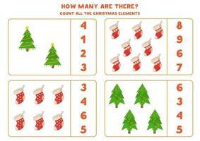 gioco di conteggio con alberi di Natale e calzini. vettore