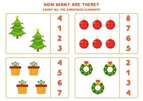 conteggio del gioco per bambini. foglio di lavoro di matematica a tema natalizio. vettore