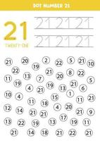 punteggia o colora tutti i numeri 21. gioco educativo. vettore