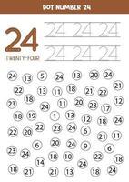 punteggia o colora tutti i numeri 24. gioco educativo. vettore