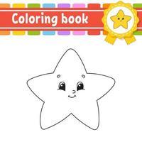 libro da colorare per bambini con stella. carattere allegro. illustrazione vettoriale. stile cartone animato carino. sagoma contorno nero. isolato su sfondo bianco. vettore