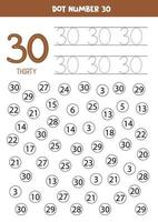 trova e punta il numero 30. gioco di matematica per bambini. vettore