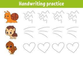 pactice della scrittura a mano animale. foglio di lavoro per lo sviluppo dell'istruzione. pagina delle attività. gioco di colori per bambini. illustrazione vettoriale isolato. personaggio dei cartoni animati.