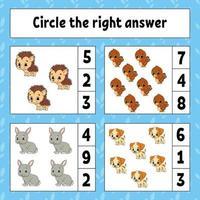 cerchia la risposta giusta. foglio di lavoro per lo sviluppo dell'istruzione. pagina delle attività con immagini. gioco per bambini. colore illustrazione vettoriale isolato. personaggio divertente. stile cartone animato.