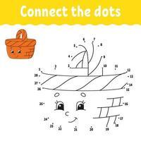 punto per punto gioco con cestino. disegna una linea. per bambini. foglio di lavoro delle attività. libro da colorare. con risposta. personaggio dei cartoni animati. illustrazione vettoriale. vettore