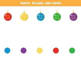 gioco di corrispondenza dei colori per i bambini. abbina le palle di Natale in base al colore. vettore