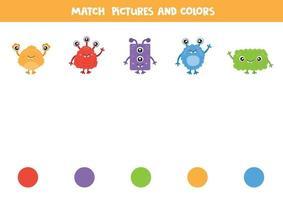 gioco di abbinamento dei colori con i mostri dei cartoni animati. foglio di lavoro per bambini. vettore