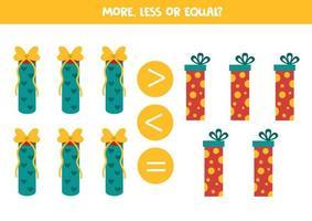 più, meno, uguale ai regali di Natale. gioco di matematica per bambini. vettore