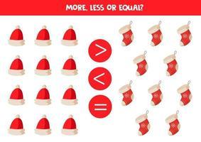confronto di oggetti per bambini. di più, di meno con berretti e calzini natalizi dei cartoni animati. vettore
