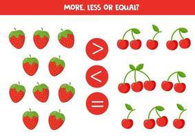 contare tutte le fragole e le ciliegie. confrontare i numeri. vettore
