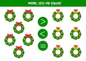 conta tutte le ghirlande natalizie e confronta i numeri. vettore