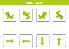 orientamento spaziale per bambini con iguana simpatico cartone animato. vettore