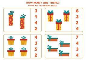 conteggio del gioco per bambini. conta tutte le scatole regalo di Natale. vettore