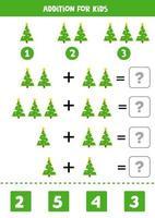 gioco di matematica per bambini. aggiunta con albero di natale. vettore