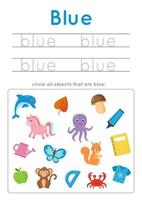 imparare il colore blu per i bambini in età prescolare. Pratica di scrittura. vettore