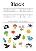 imparare il colore nero per i bambini in età prescolare. Pratica di scrittura. vettore