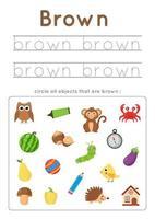 imparare il colore marrone per i bambini in età prescolare. Pratica di scrittura. vettore