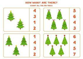 conta tutti gli abeti di Natale. gioco di matematica educativo. vettore