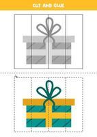pratica di taglio per i bambini. scatola regalo dei cartoni animati. vettore