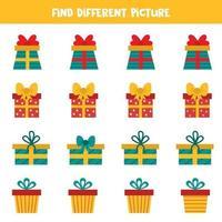 trova un'immagine diversa della scatola di Natale presente in fila. vettore
