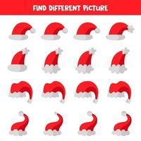 trova un'immagine diversa del cappello di Babbo Natale. vettore